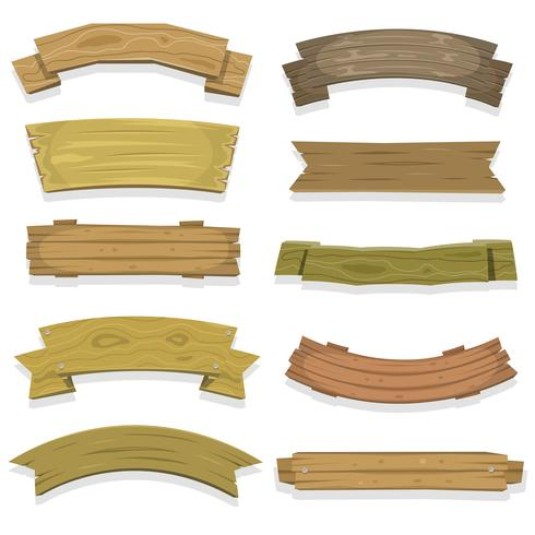Tecknade träbanderier och band vektor
