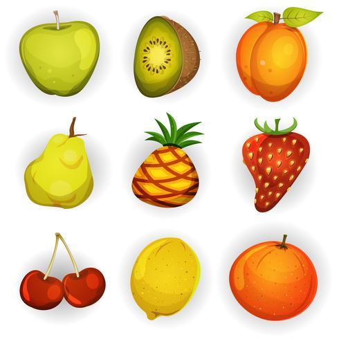 tecknade frukt ikoner uppsättning vektor