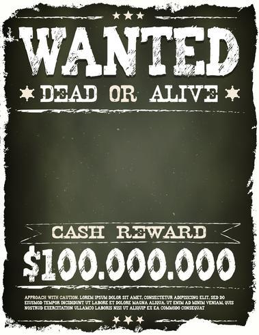 Wanted Vintage Western Poster auf Tafel vektor