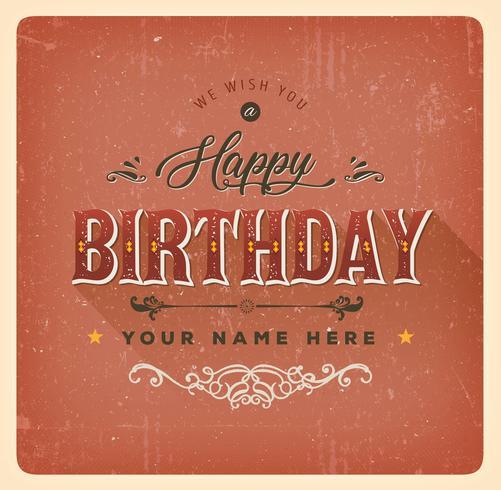 Vintage rote alles- Gute zum Geburtstagkarte vektor