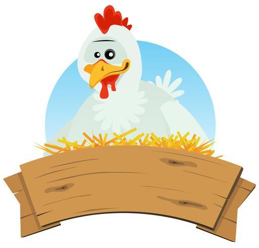 Hühnernest und hölzerne Fahne vektor
