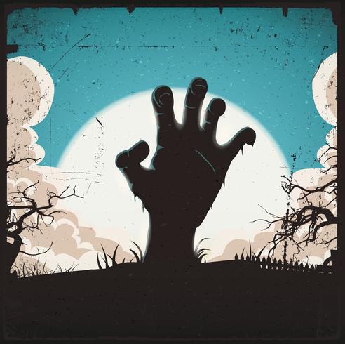 Untote Zombiehand auf Halloween-Hintergrund vektor