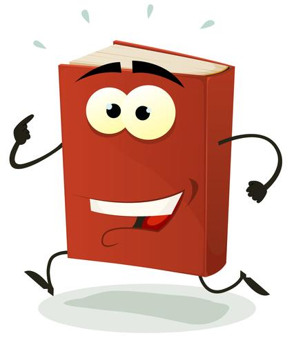 Glad Röd Bok Karaktär Running vektor