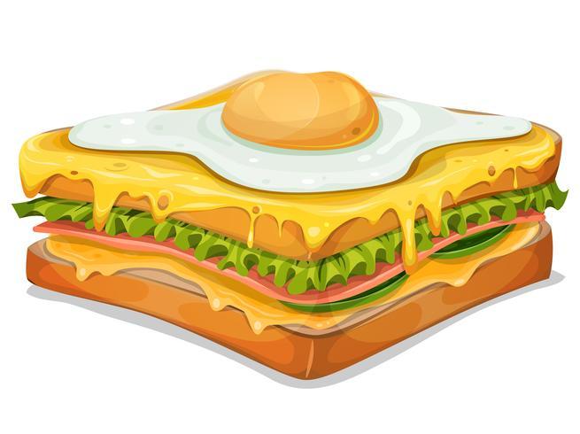 Französisches Sandwich Mit Spiegelei vektor