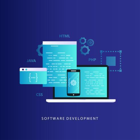 Kodning, programmering, webbplats och applikationsutveckling vektor illustration