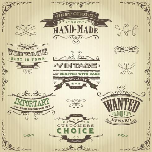 Handdragen västra banderoller och band vektor