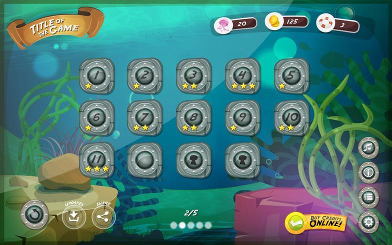 U-Boot-Spiel-Benutzeroberfläche für Tablet vektor