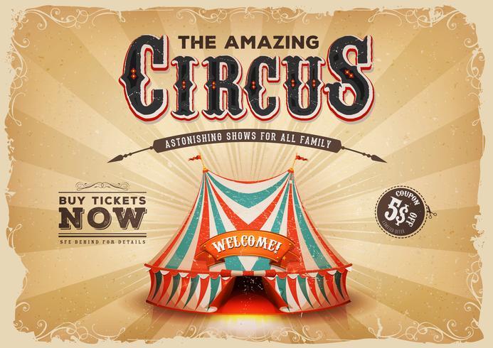 Weinlese-altes Zirkus-Plakat mit Schmutzbeschaffenheit vektor