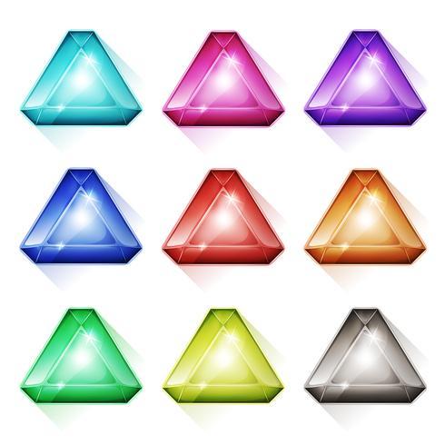 triangulära pärlor, kristall och diamanter ikoner vektor
