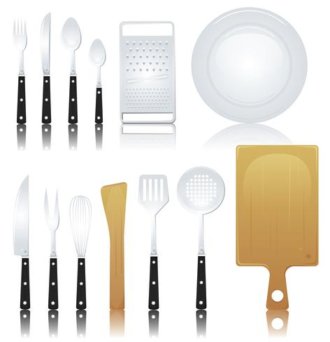 Gaffel, kniv och olika köksredskap vektor