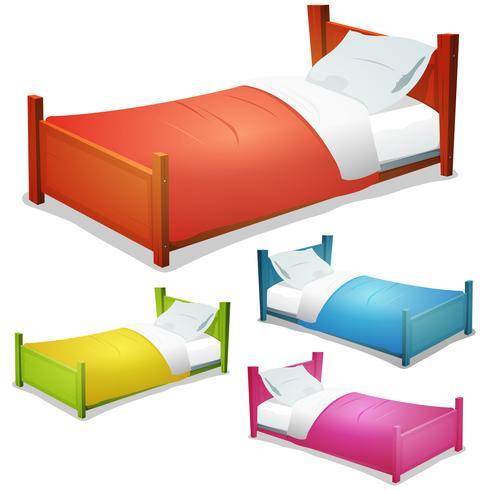Cartoon-Bett gesetzt vektor
