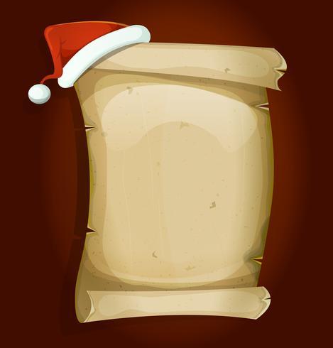 Weihnachtsmann-Hut auf alter Pergament-Rolle vektor