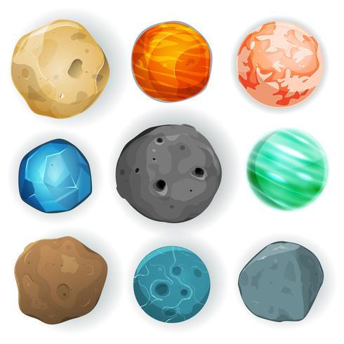 komiska planeter uppsättning vektor