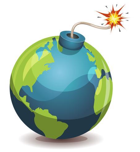 Erdplanet Warnbombe vektor