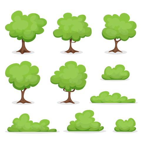 Bäume, Hecken und Bush Set vektor