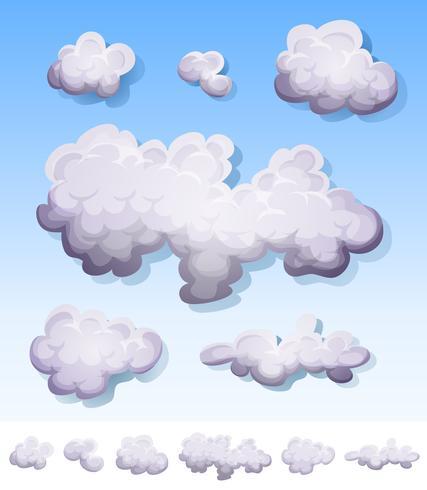 Karikaturrauch, -nebel und -wolken eingestellt vektor