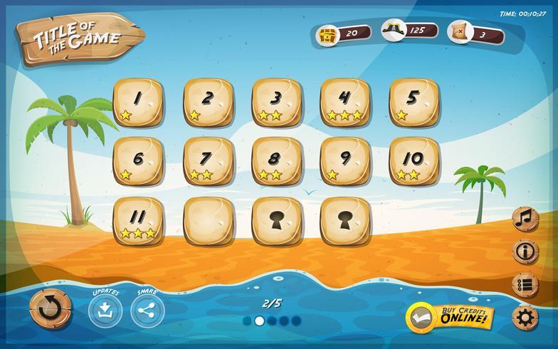 Desert Island Game-Benutzeroberflächen-Design für Tablet vektor