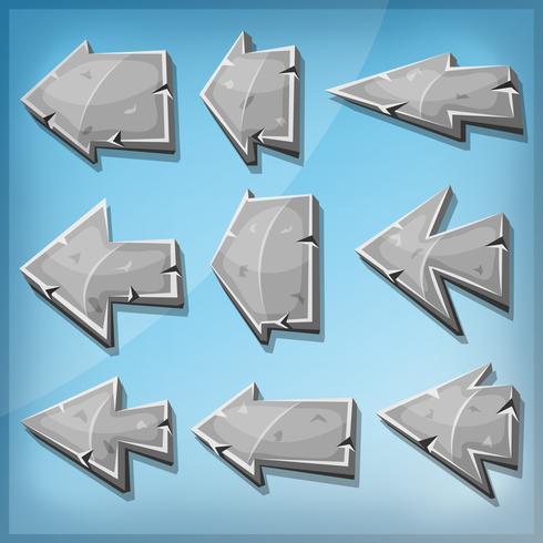 Steinpfeile Zeichen für Ui-Spiel vektor