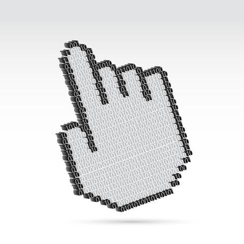 Handpekare med binära nummer vektor