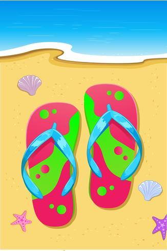 Pantoffel am Strand vektor