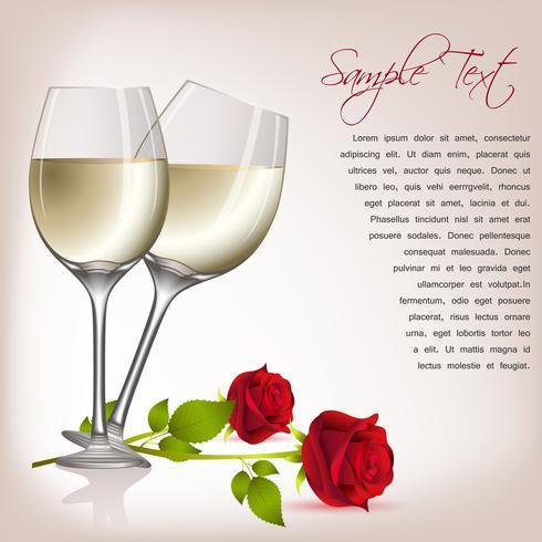 Rose med vin vektor