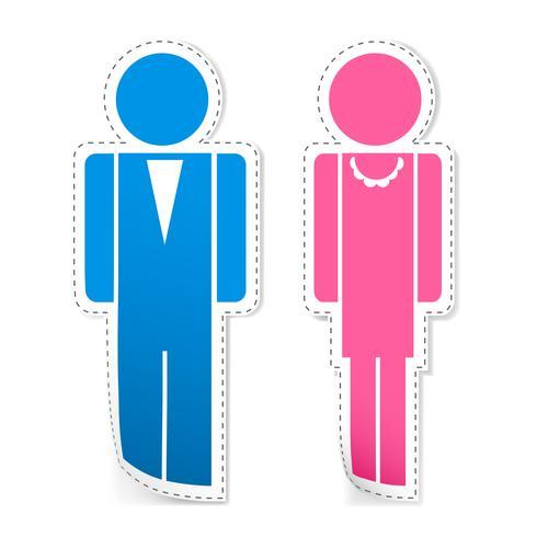 Männliche und weibliche Aufkleber vektor