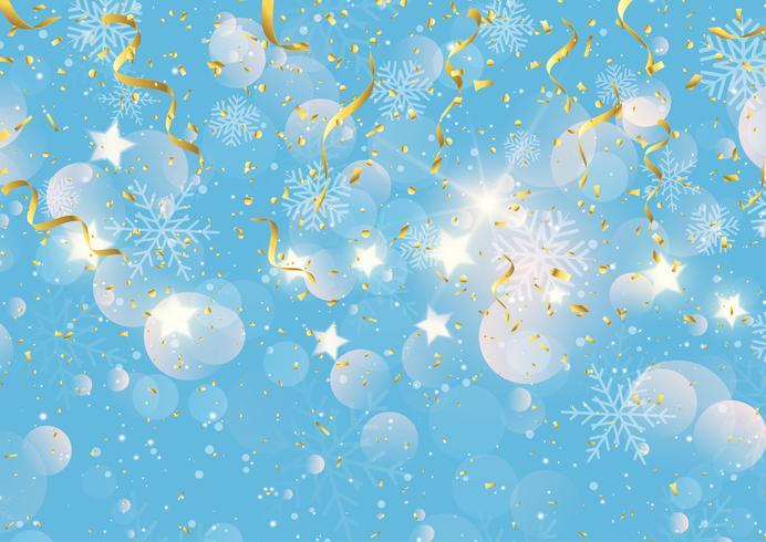 Jul bakgrund med guld streamers konfetti och snöflingor vektor