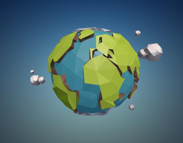 Låg Poly Earth vektor