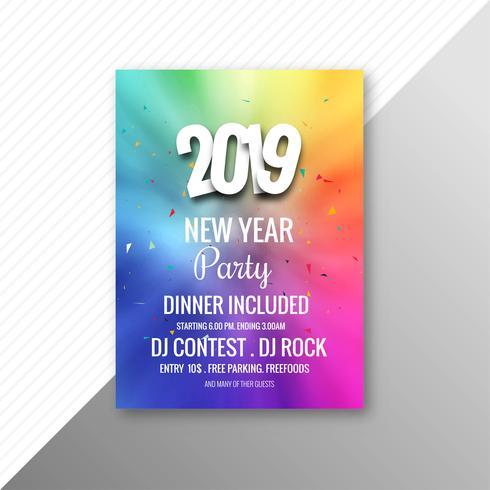 Partei-Broschüren-Feierschablone des neuen Jahres 2019 vektor