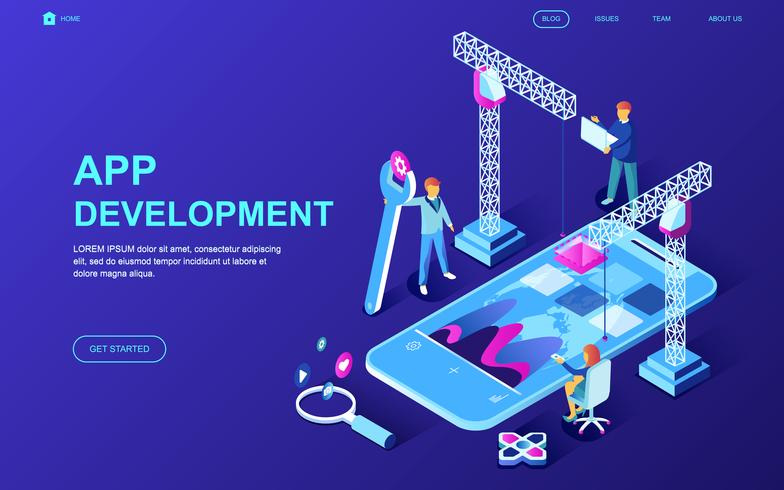 Web-Banner für die App-Entwicklung vektor