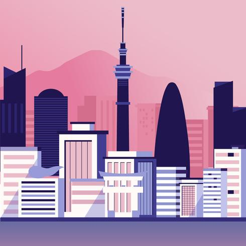 Tokyo-Skyline-Vektor-Illustration vektor