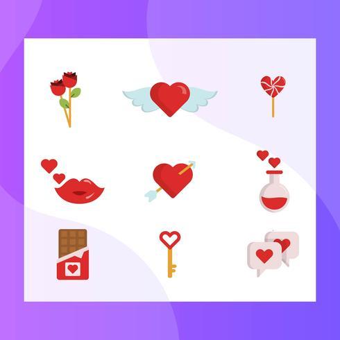 Platt Enkel Valentinsdag Element Vector Ikon Samling