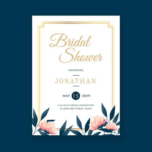 Blumenweinlese-Brautparty-Einladungs-Schablonen-Vektor vektor