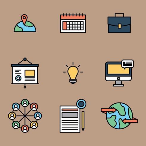 Internationella affärer skisserade ikoner vektor