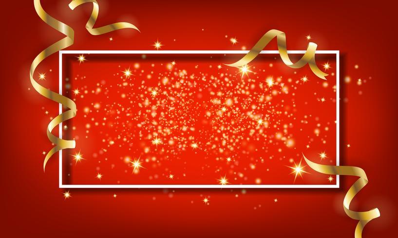 Goldener Scheinpartikel und fallender Bandhintergrund. Vektor il