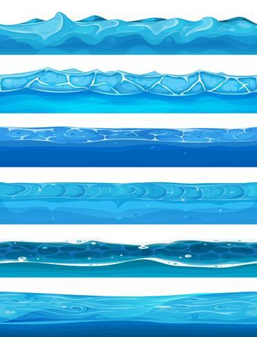 Nahtlose Wasser-, Ozean- und Flussschichten für Ui-Spiel vektor