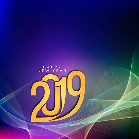 Gott nytt år 2019 färgglatt hälsning bakgrund vektor