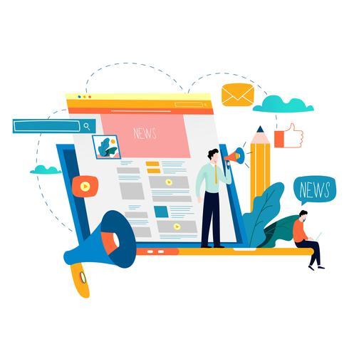 Nyhetsuppdatering, online-nyheter, tidning vektor