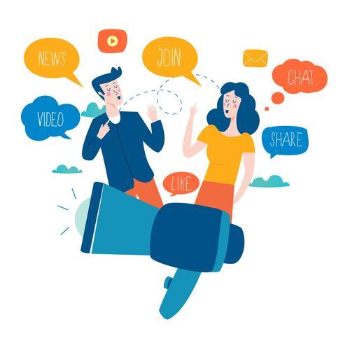 Sociala medier, nätverk, chattar, textning, kommunikation, online community, inlägg, kommentarer, nyheter platt vektor illustration