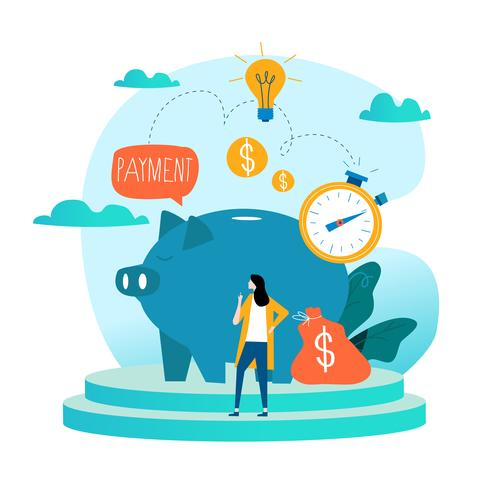 Business och finans tjänster, pengar lån, budget planering platt vektor illustration design. Långsiktiga investeringar, inlåning av sparkonto, pensionskonstruktion för mobil och webbgrafik