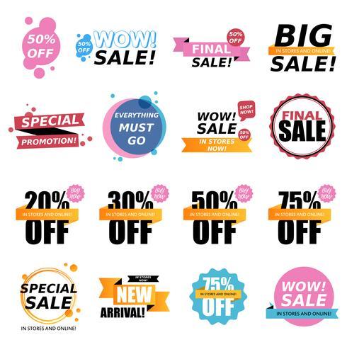 Verkauf Aufkleber Sammlung. Verkauf Abzeichen vektor