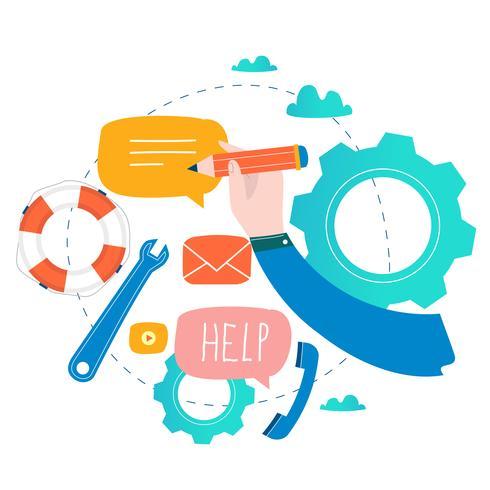 Kundendienst, Kundenbetreuung, flache Vektorillustration des Call-Centers vektor