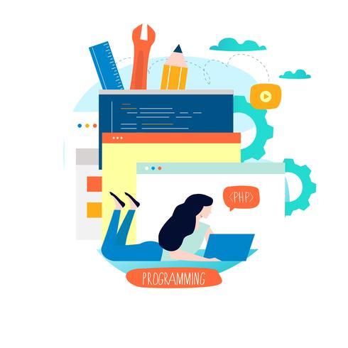 Kodning, programmering, webbplats och applikationsutveckling vektor