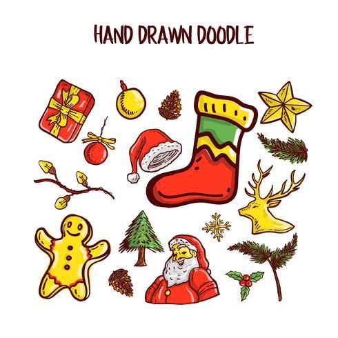 Weihnachts-Doodle-Kunst-Set. Vektor-Illustration vektor