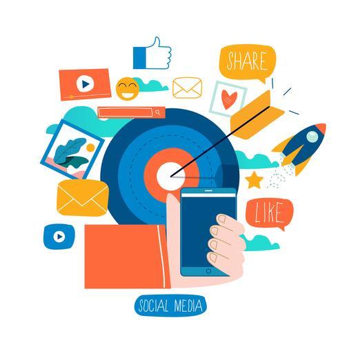 Sociala medier, sociala nätverk vektor
