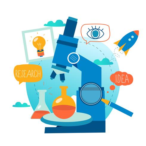 Forskning, vetenskapslaboratorium, vetenskapligt experiment, testning, mikroskopforskning vektor