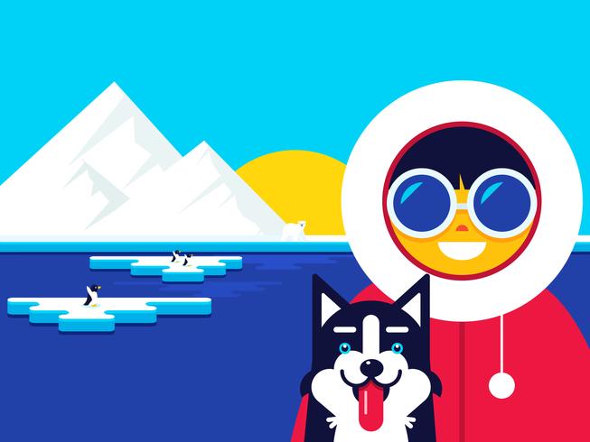 Eskimo Med Husky Hund Vektor Illustration