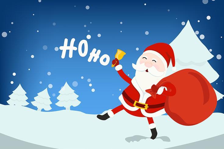 Jultomten kommer vektor