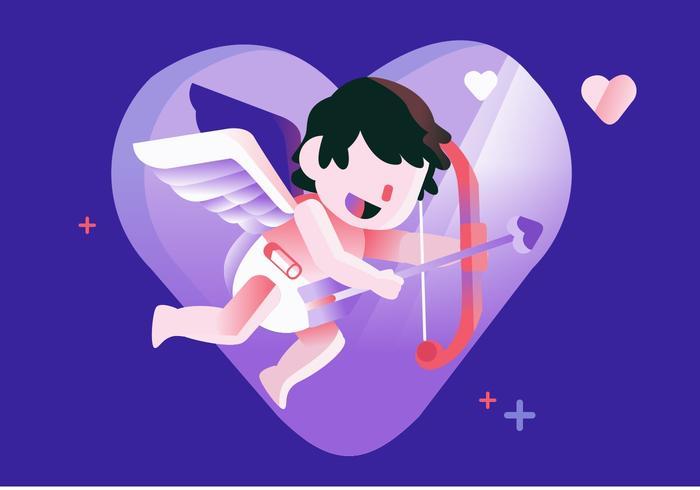 Gullig Cupid Vector Flat Illustration