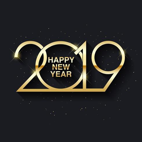 Textdesign des guten Rutsch ins Neue Jahr 2019 vektor